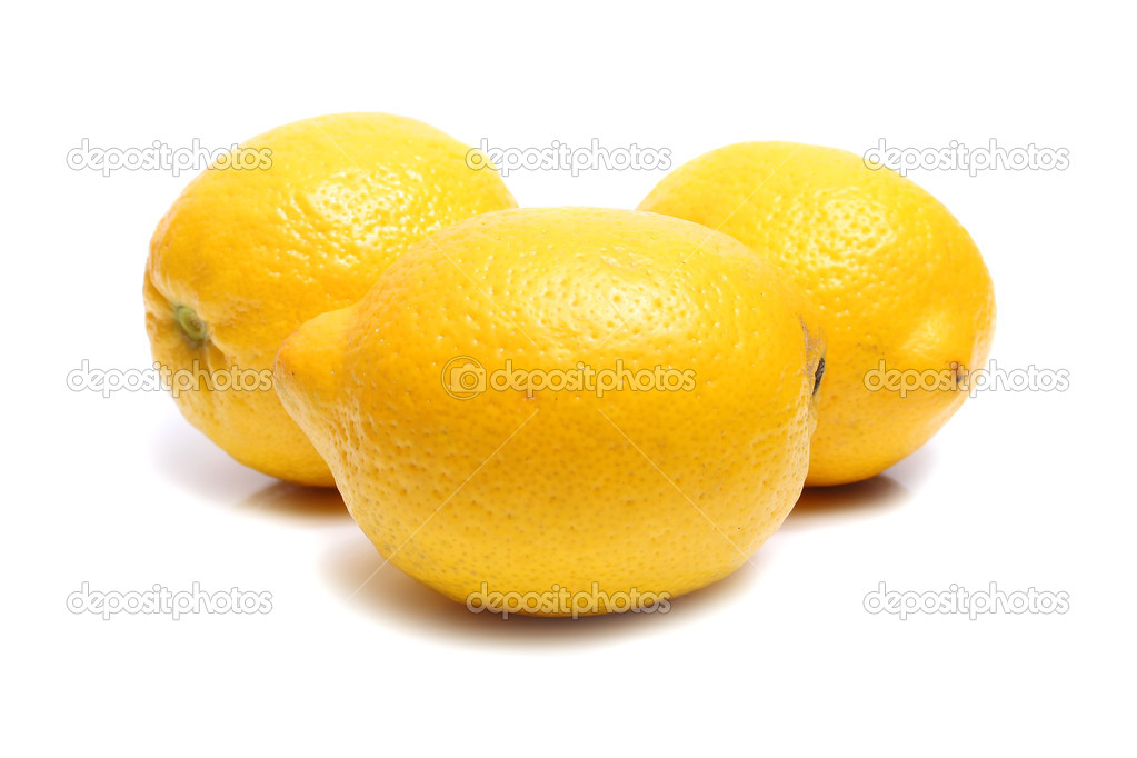 Ripe yellow lemon isolated on white background  Stock Photo #2034009