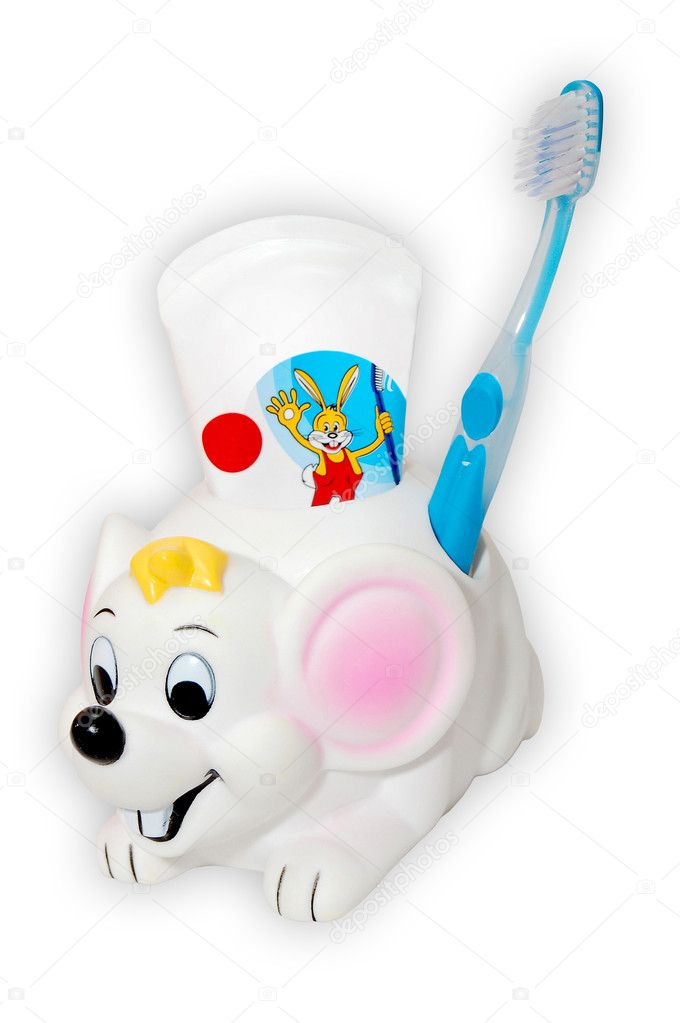 Tooth-paste and brush for kids  isolated on the white background  Stock Photo #2051669