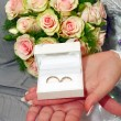Wedding rings in white box — Stock Photo