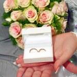 Wedding rings in white box — Stock Photo #2381635