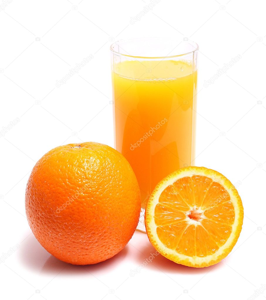 Orange and juice in glass isolated on white background  Stock Photo #2380744