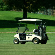 Golf cart on the fairway of a course — Stock Photo #2039410