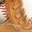 Baseball glove with ball macro - Stock Photo