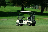 Golf cart on the fairway of a course — Stok fotoğraf