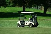 Golfkar op de fairway van een cursus — Stockfoto