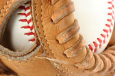 Baseball glove with ball macro — Stock Photo
