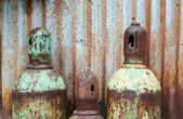 Rusty acetylene and oxygen tanks — Stock Photo