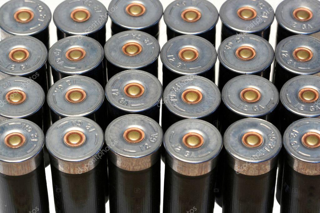 12 gage black shotgun shells background image  Stok fotoraf #2039119