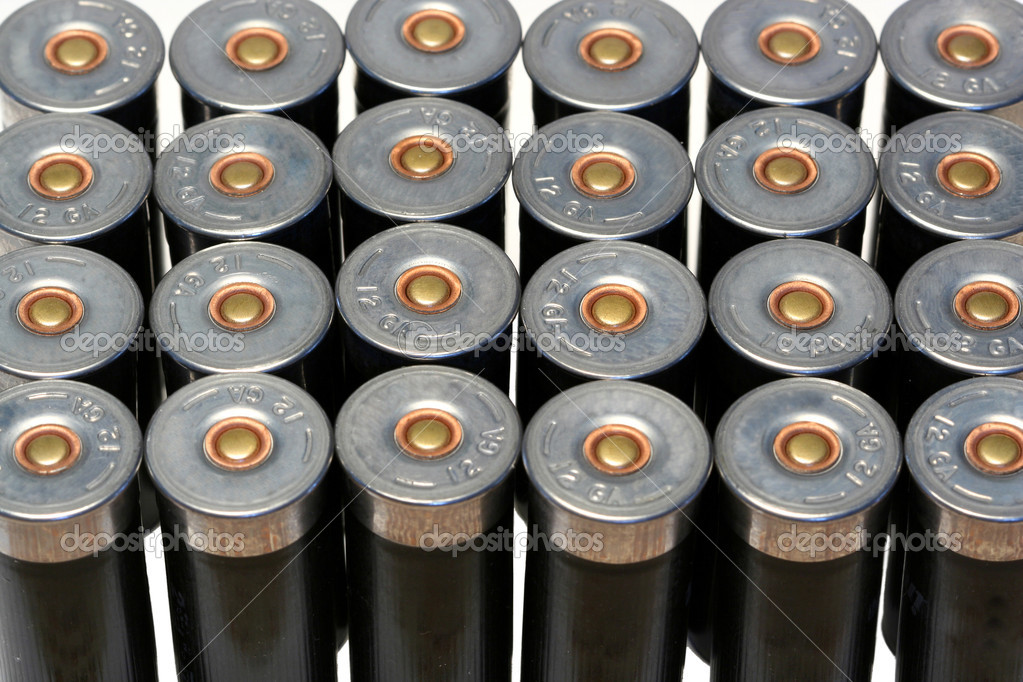 12 gage black shotgun shells background image  Foto Stock #2039119