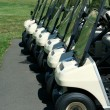 Front view of a row of golf carts — Stock Photo #2040079