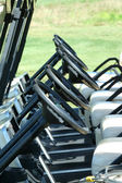 Inside view of a row of golf carts — Stock Photo