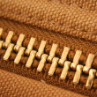 Large gold zipper macro - Stock Photo