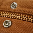 Large gold zipper macro with snaps - Foto Stock