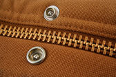 Large gold zipper macro with snaps — Foto Stock