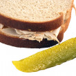 Isolated  Turkey Sandwich With Pickle - Stock Photo