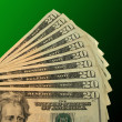 Twenty Dollar bills fanned out — Stock Photo