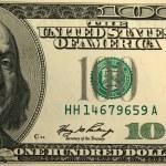 One hundred dollar bill background — Stock Photo