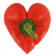 Isolated red bell pepper heart on white — Stock Photo