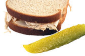 Isolated Turkey Sandwich With Pickle — Stock Photo
