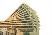 Twenty Dollar bills fanned out — Stock Photo