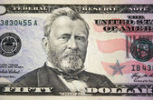 US fifty dollar bill macro — Stock Photo