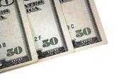 üç abd elli dolar faturaları köşesinde — Stok fotoğraf