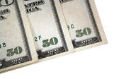 Corner of three US fifty dollar bills — Stock Photo
