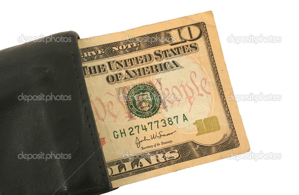 Ten Dollar Bill and Wallet — Stock Photo #2072522