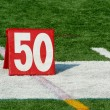 Football fifty yard marker — Stock Photo