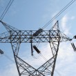 High tension power lines — Stock Photo