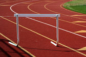 Running track hurdle — Stock Photo