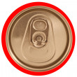 Isolated closed red soda can lid — 图库照片