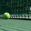 Tennis ball near net — Stockfoto