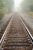 Foggy Railroad Tracks — Stockfoto