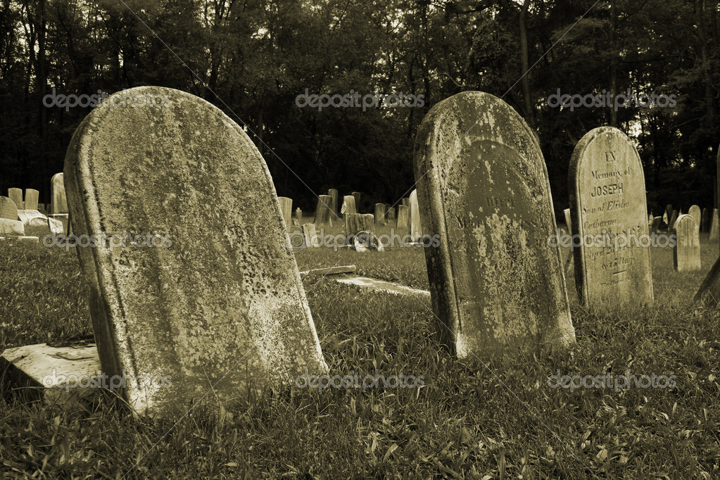 Old Gravestones with grass in a graveyard — Stock Photo #2102111