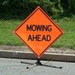 Mowing ahead sign — Stock Photo