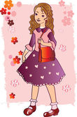Girl in a dress with a handbag — Stock Vector