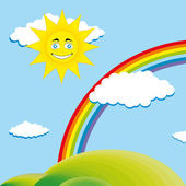 Happy sun over valley — Stock Vector