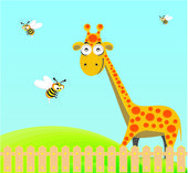 Cute giraffe and bee — Stock Vector