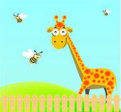 Cute giraffe and bee — Stock Vector