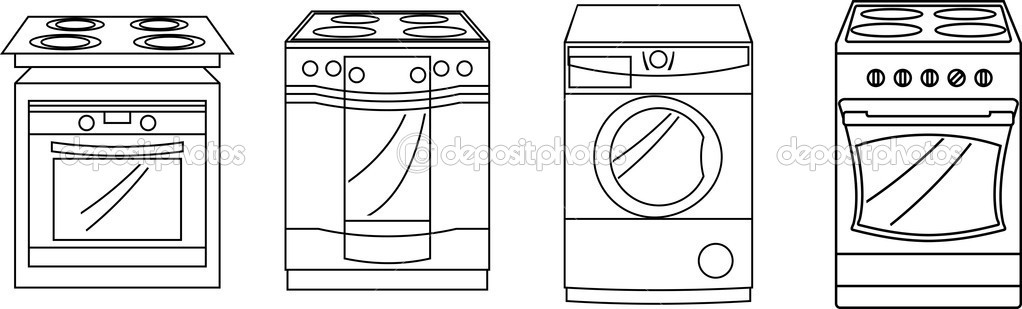 Vector illustration. appliances: sets and washing machine .eps — Stock Vector #2094717