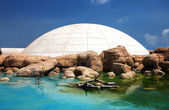 Simulated ice-house among rocks and water  — Stock Photo