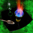 Burning absinthe — Stock Photo