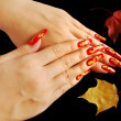 Autumnal nail design — Stock Photo