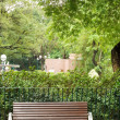 Brown bench with nobody in the park — Stock Photo