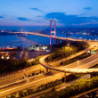 Tsing Ma Bridge in HK - Stock Photo