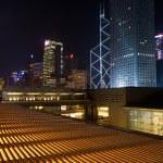 Night scenes of skyscrapers — Stock Photo