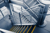 Modern gray stair outside of buildings — Foto Stock