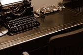 Old typewriter for bank on the desk — Stock Photo