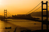 Sunset of Tsing Ma Bridge — Stock Photo